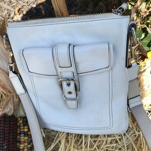 Coach white leather crossbody bag